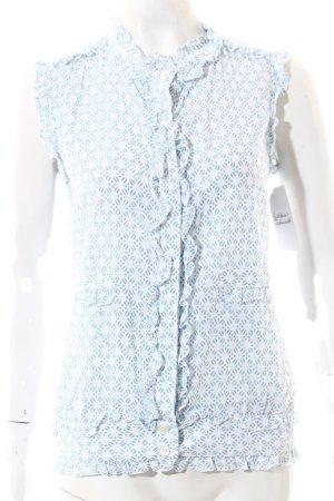 en soie Zürich Kurzarm-Bluse weiß-hellblau florales Muster Casual-Look