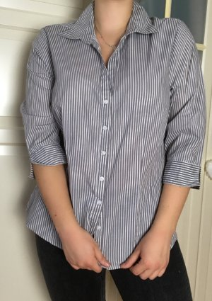 ENDPREIS: Klassische Bluse in grau/weiß von Primark, Größe 42, wie neu