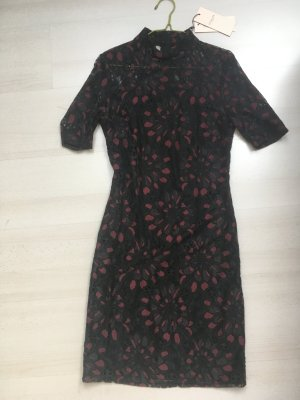 Selected Femme Kokerjurk zwart-donkerrood