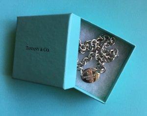 Enganliegende orig. Return to Tiffany & Co. Oval Tag Choker Halskette 925-Silber