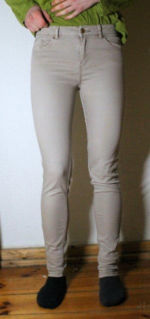 Enge Röhrenhose/ Strechhose in beige von H&M Gr. 34