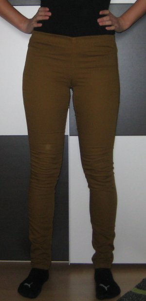 Pieces Drainpipe Trousers olive green-dark yellow cotton