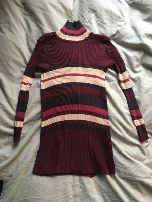 Enger Pullover mit streifen lila Aubergine gerippt Muster  beige Strech Rollkragen langarm Shirt Oberteil