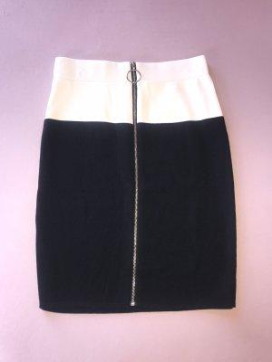 Jupe taille haute noir-blanc