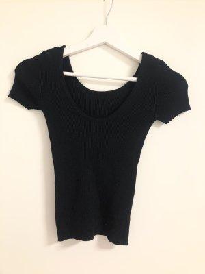 Enges elastisches T-shirt Oberteil rundhals schwarz