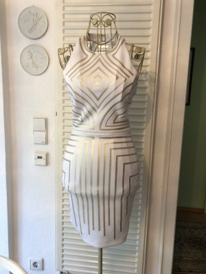 Guess Mini vestido blanco-color oro