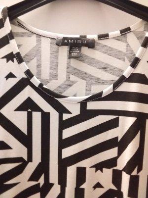 Amisu Abito jersey nero-bianco Cotone