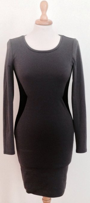 Enges Kleid/Minikleid grau schwarz