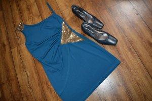 Enges Minikleid Gr. 38 aus Italien Blau gold