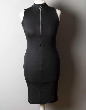 Enges schwarzes Kleid in Feinripp-Optik NEU