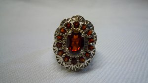 Silver Ring silver-colored-brown red real silver