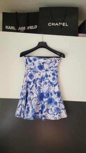 H&M Off the shoulder jurk wit-blauw