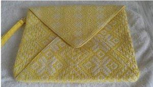 Promod Clutch wit-geel Katoen