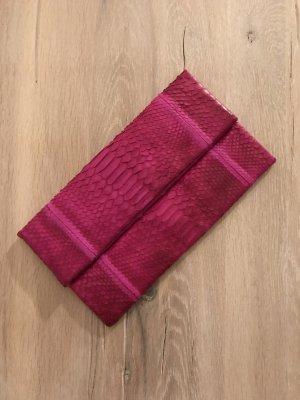 Clutch multicolored reptile leather