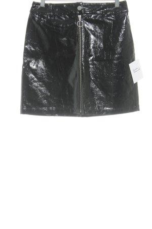 Envi Fashion Design Falda de cuero negro elegante