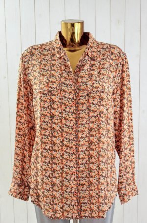 EQUIPMENT Damen Bluse Seide Langarm Blumen Orange Gelb Blau Weiß Lässig Gr.S