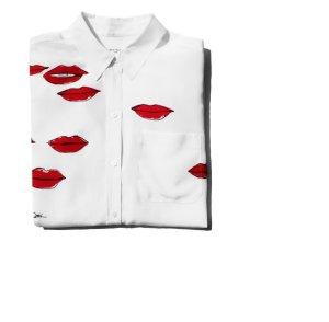 Equipment Signature Bluse Garance Dore Seidenbluse mit Lippen Bluse Seidenhemd