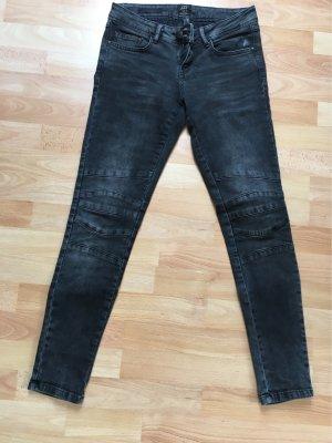 Biker jeans zwart-grijs