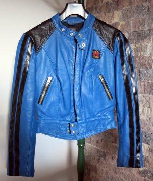 ERBO Bikerjacke Leder blau Gr.34/36