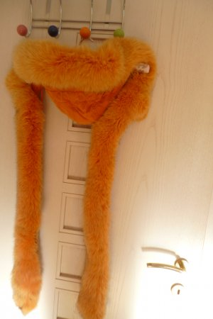"Erbstücke 2x Modisch im Trend:1. ""Echtfuchspelz orange"", L ca. 2m 60 als (Kaputzen)Jacken-Besatz/2.Echter Pelzschal"