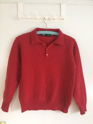 Erdbeerroter Irischer Pullover aus 100% Lammwolle 36