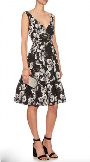 ERDEM Cocktail Kleid 38 M NEU Schwarz Weiß Geblümt Gaby Dress Black White uk 12
