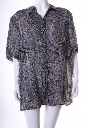 Erfo Classic Long-Bluse weiß-schwarz florales Muster Casual-Look