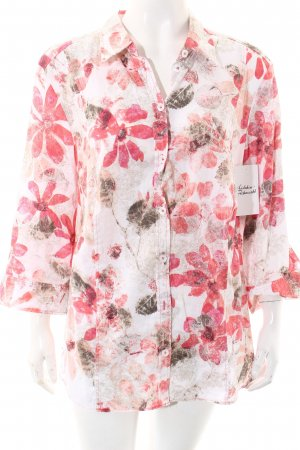 Erfo Langarm-Bluse hellrosa-magenta florales Muster Casual-Look