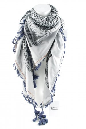 Erfurt Fringed Scarf black-pale blue abstract pattern casual look