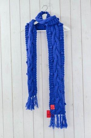 ERFURT LUXURY Schal Strickschal Schal Grobstrick Wolle Polyacryl Fransen Blau