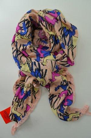 ERFURT LUXURY Tuch Schal Accessoires Print Viskose Rehe Reh Rosé Pink Mod. 5097