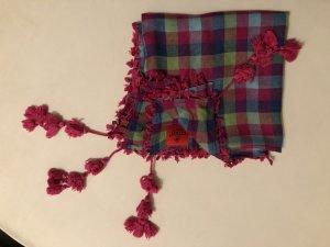 Erfurt Luxury Tuch Schal, kariert, Bommel pink-blau, Denmark, Neuwertig