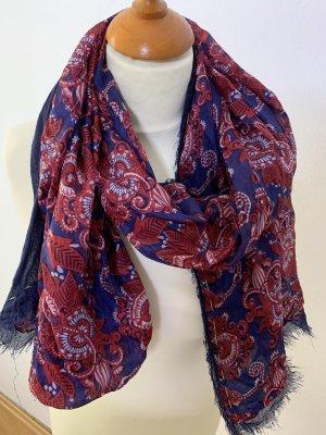 Erfurt Bufanda de seda carmín-azul oscuro