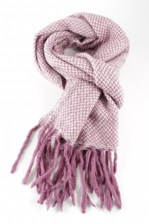 Erfurt Woolen Scarf pink-white cable stitch casual look