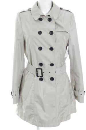 Erich Fend Trenchcoat creme-hellgrau Streifenmuster Street-Fashion-Look