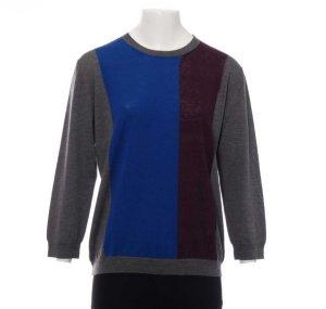 Erika cavallini pullover gr. XL grau blau Bordeaux schurwolle