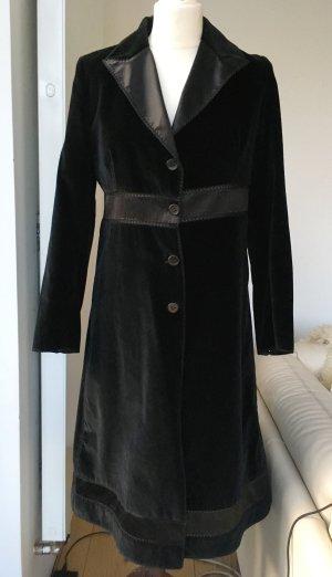 * ERMANNO SCERVINO * Eleganter MANTEL SAMT Baumwolle schwarz Häkel Seidenoptik FESTLICH Gr 40 L