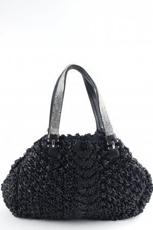 Ermanno Scervino Carry Bag black-silver-colored glittery