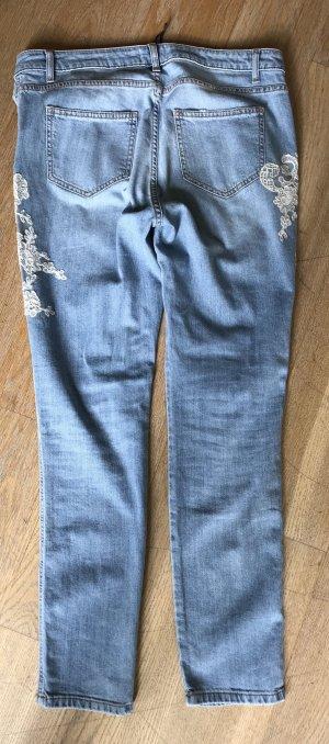 Ermanno Scervino Jeans blau mit weißer Spitze