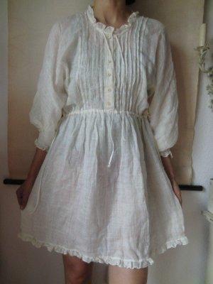Ermanno Scervino Kleid Tunika weiß off-white Leinen Seide romantisch Sommer dress
