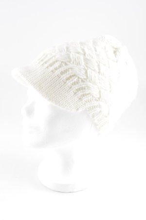 Ermanno Scervino Sombrero de punto blanco puro look casual
