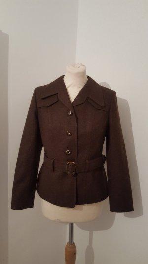Folkloristische jas zwart bruin Scheerwol