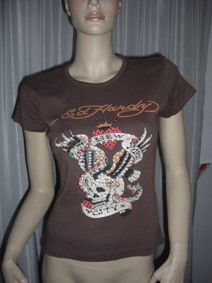 Es Hardy Shirt braun mit viel Strass NEU 38