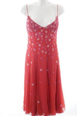 Escada Abendkleid hellrot-rosa Blumenmuster extravaganter Stil