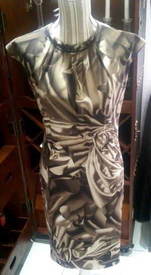 Escada Abendkleid Kleid Seidenkleid braun creme 100% Seide 38 M