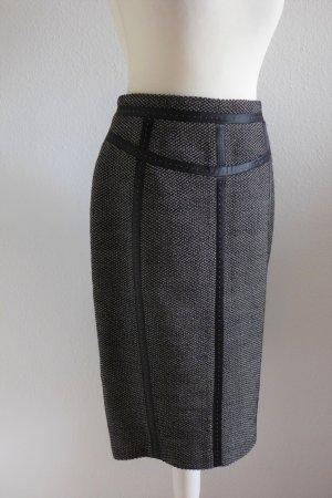 Escada Bleistift Rock Pencil Skirt Wolle schwarz beige Ziernähte Gr. 36 S