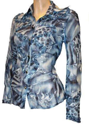 ESCADA Bluse blau Muster Glitzer langarm Gr.34 / 36