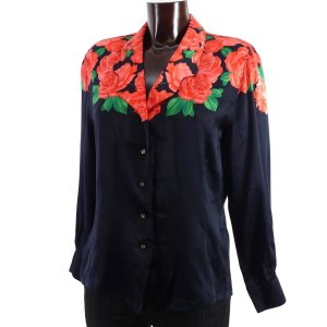 Escada Blouse brillante noir-rouge