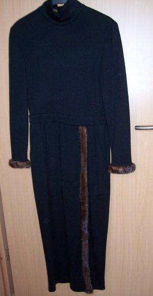 Escada by Margaretha Ley Kleid Strickkleid schwarz mit Pelz Gr. 36