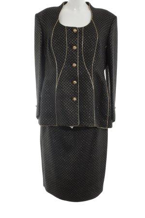 Escada Couture Kostüm schwarz-goldfarben Allover-Druck Business-Look